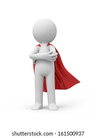 3d superman, superhero standing in red raincoat