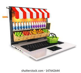 3d supermarket laptop, isolated white background, 3d image