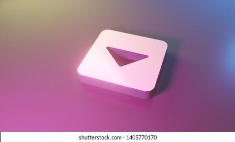 3d symbol of caret square down render on colorful blue violet fill smooth background
