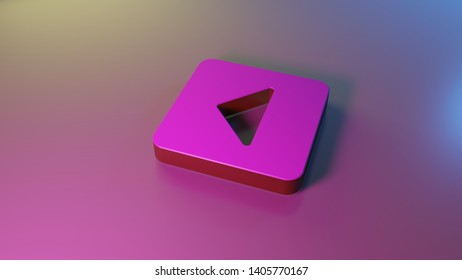 3d symbol of caret square left render on colorful blue violet fill smooth background