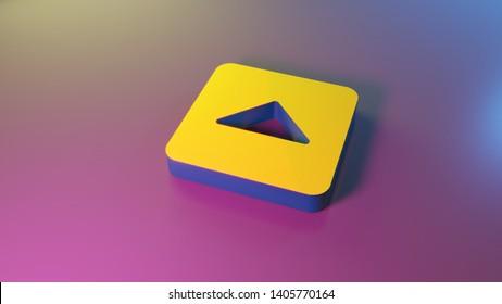 3d symbol of caret square up render on colorful blue violet fill smooth background