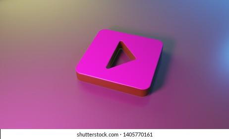 3d symbol of caret square right render on colorful blue violet fill smooth background