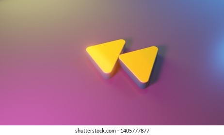 3d symbol of double fast backward left triangle rounded arrows render on colorful blue violet fill smooth background