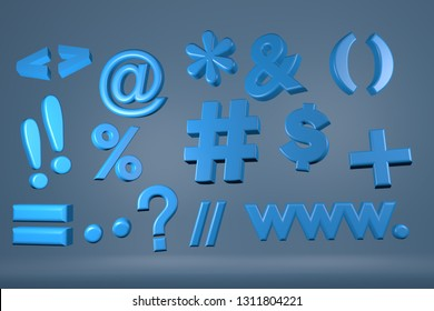 3D symbols and alphabet isolated over plain background