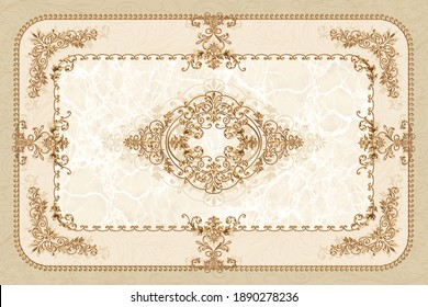 3-D symmetric ceiling painting in classic style with gold ornaments on beige marble background