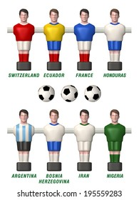 3D table football figures with a football ball in different positions