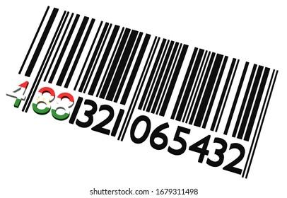 Code-barres tadjik 3d sur fond blanc