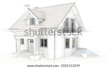 3 D Technical Drawing House Villa On Stock Illustration 1025513239