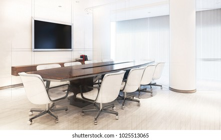 3d technical drawing style, Modern Meeting Room with meeting table and furniture 3D illustration