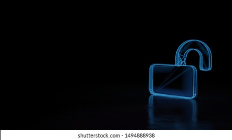 3d techno neon blue glowing wireframe with glitches symbol of lock open isolated on black background with distorted reflection on floor