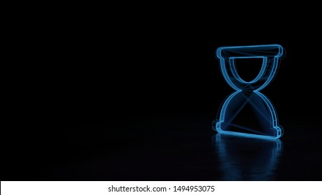 3d techno neon blue glowing wireframe with glitches symbol of hourglass in end phase isolated on black background with distorted reflection on floor