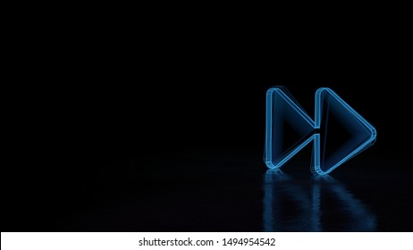 3d techno neon blue glowing wireframe with glitches symbol of two right double arrows isolated on black background with distorted reflection on floor