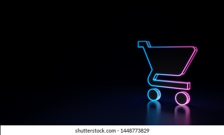 3d techno neon purple blue glowing outline wireframe symbol of cart isolated on black background with glossy reflection on floor