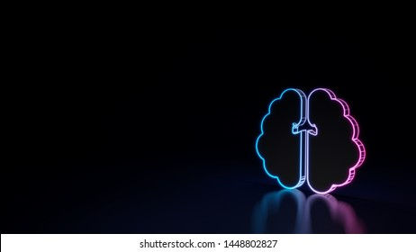 3d techno neon purple blue glowing outline wireframe symbol of brain hemisphere isolated on black background with glossy reflection on floor