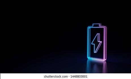 3D Techno Neon violetter blauer Umriss vertikales Symbol für das Aufladen einer leeren Batterie einzeln auf schwarzem Hintergrund mit glänzender Reflexion auf dem Boden