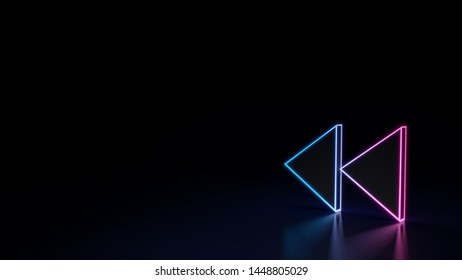 3d techno neon purple blue glowing outline wireframe symbol of double fast backward left triangle arrows isolated on black background with glossy reflection on floor