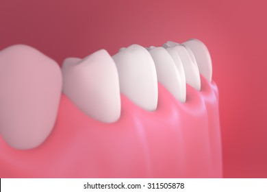 3D teeth or tooth side view, closeup illustration