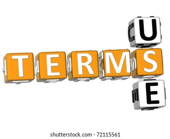 3D Terms Use Crossword text on white background