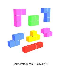 3D tetris game colorful cubes