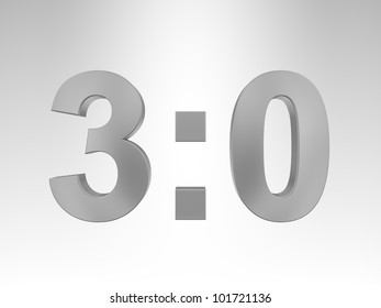 "3D text ""3:0"" on gray background"