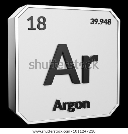 3 D Text Chemical Element Argon Atomic Stock Illustration Royalty