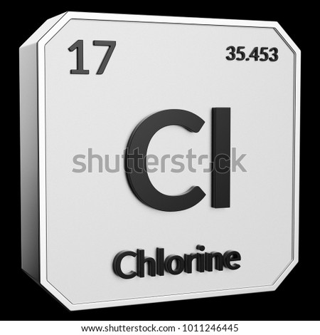 3 D Text Chemical Element Chlorine Atomic Stock Illustration