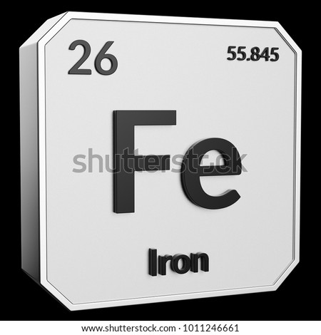 3 D Text Chemical Element Iron Atomic Stock Illustration 1011246661