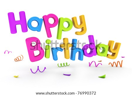 3 d text featuring words happy birthday stock illustration 76990372