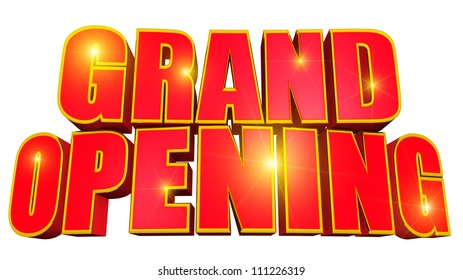 3d text grand opening with gold trim and bright stars