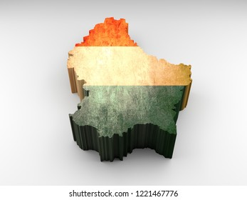 3d textured Luxembourg map with a luxembourgish flag on a white background