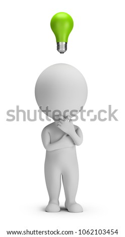 3d thinking small people with a green bulb over a head. 3d image. White background.