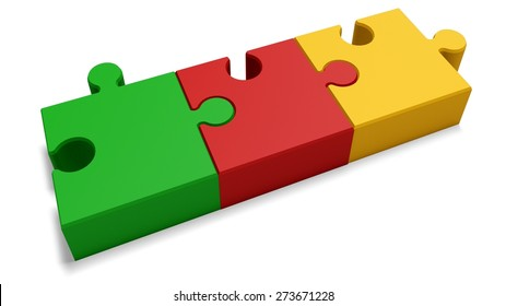 3D. Three Objects, Puzzle, Part Of.