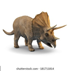 3d three quarter view of a triceratops
