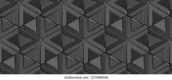 3D tiles black rhombuses and triangles with gold decor elements. High quality seamless realistic texture.
