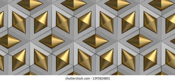 3D tiles gray rhombuses and matte golden cones. High quality seamless realistic texture.