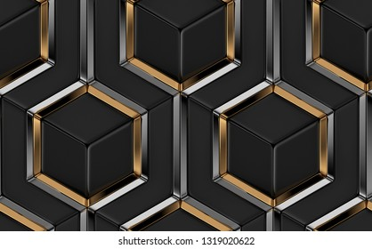 3D tiles made of black elements and gold with silver metal decor. High quality seamless realistic pattern.