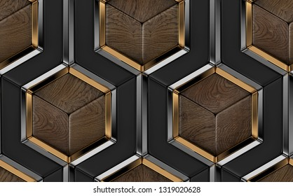 3D tiles made of black and precious wood elements and gold with silver metal decor. High quality seamless realistic pattern.