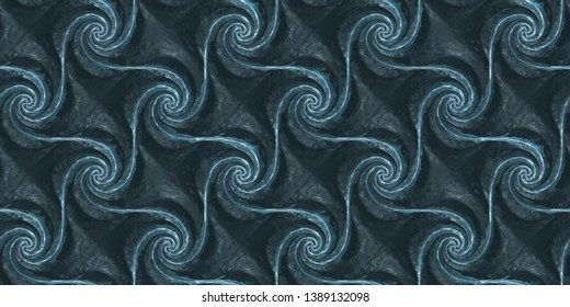 3D tiles made of frozen water, ice pieces spiral form in a geometric pattern. High quality seamless realistic texture.