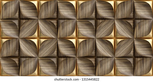 3D tiles made of precious wood with gold decorative elements. High quality seamless texture.