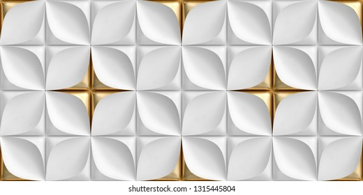 3D tiles made of white leather with gold decorative elements. High quality seamless texture.