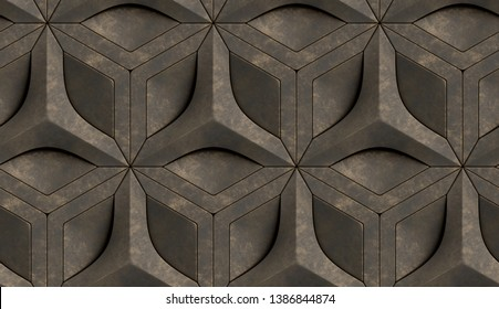 3d tiles old brown relief hexagons with dirt golden edges. High quality seamless realistic texture.