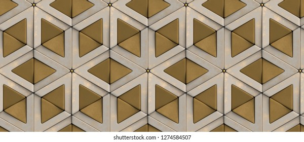 3D tiles old golden rhombuses and matte gold triangles with gold decor sphere elements. High quality seamless realistic texture.