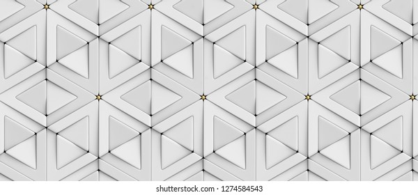 3D tiles white rhombuses and triangles with gold decor elements. High quality seamless realistic texture.