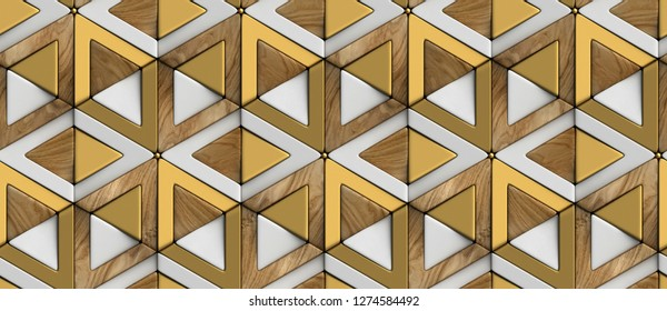 3D tiles wood white and golden rhombuses and triangles with gold sphere decor elements. High quality seamless realistic texture.
