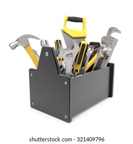 3d toolbox isolated on white background