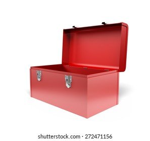 3D. Toolbox, Open, Red.