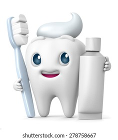 3D Tooth cartoon Smiling with toothbrush and toothpaste, illustration isolated