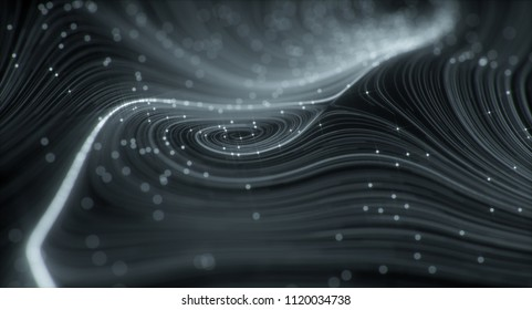 3D Topographic map background concept. Topo contour map. Rendering abstract illustration. Valleys and mountains. Geography concept. Wavy backdrop. Space surface. magic blue neon light curved lines