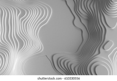 3D Topographic map background concept. Topo map. Rendering. 3D rendering abstract illustration. Hills, valleys and mountains. Geography concept. Wavy backdrop. Cartography and topology. Space surface