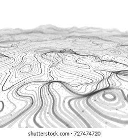 3D Topographic map background concept. Topo contour map. Rendering. 3D rendering abstract illustration. Geography. Wavy backdrop. Cartography and topology. Space surface. magic neon light curved lines